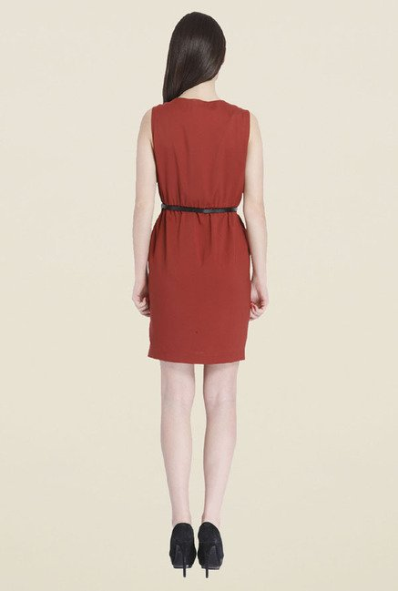 Only Maroon Solid Dress