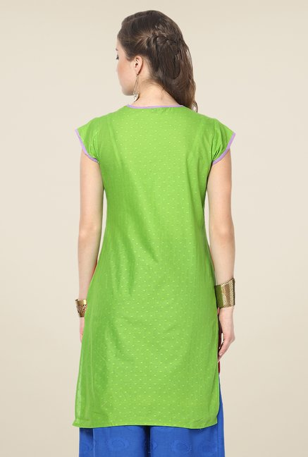 Yepme Orange and Green Shyra Angrakha Kurti