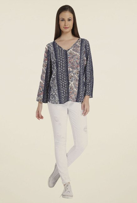 Only Navy Printed Polyester Top