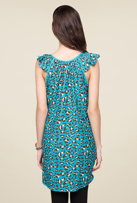 Yepme Blue Aubey Animal Print Kurti