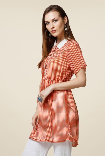 Yepme Orange Ressee Shirt Style Kurti