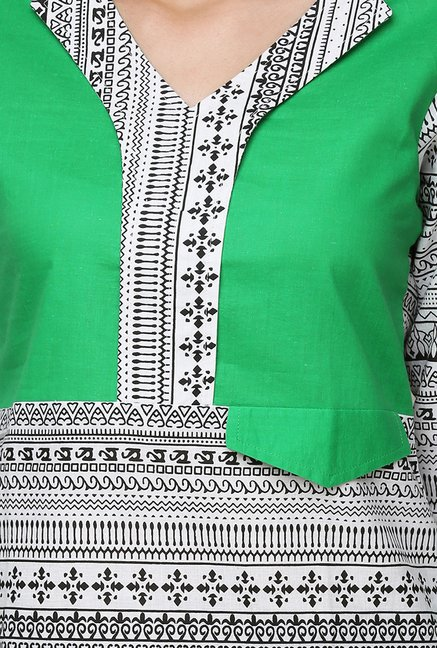 Yepme Green & White Zeal Tribal Print Kurti