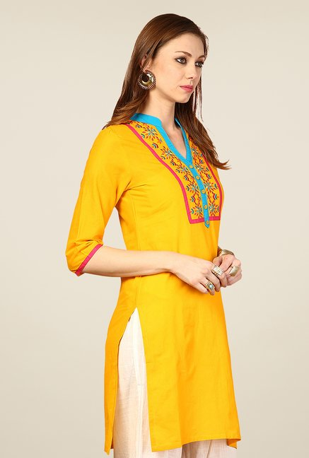 Yepme Yellow Remi Embroidered Kurti
