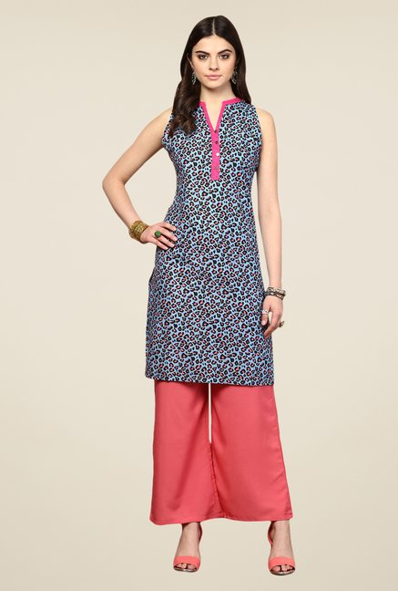 Yepme Blue Wensy Printed Cotton Kurti