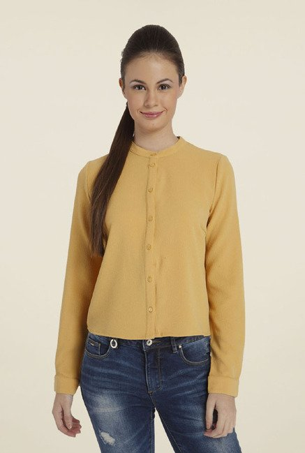 Only Yellow Solid Crew Neck Top