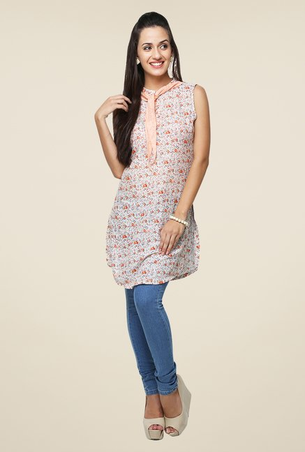 Yepme White & Orange Lina Tie-Up Kurti