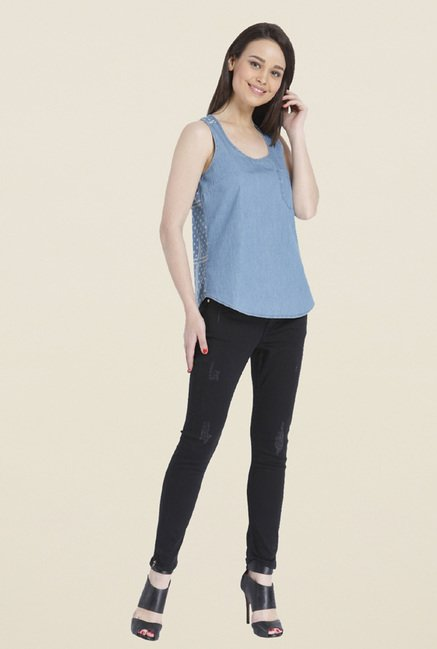 Only Light Blue Solid Top