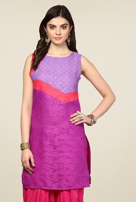 Yepme Redecca Purple & Violet Color Block Kurti