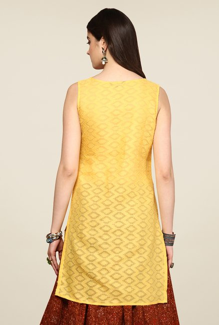 Yepme Redecca Yellow & White Color Block Kurti