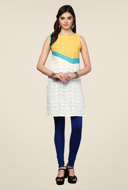 Yepme Redecca White & Yellow Color Block Kurti