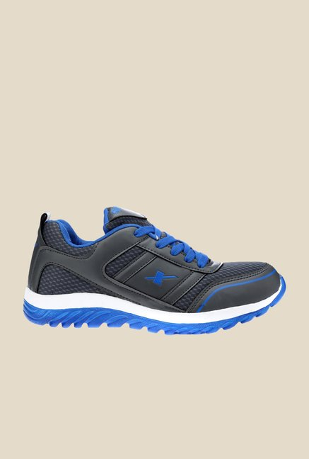 Sparx Dark Grey & Blue Running Shoes