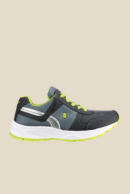Sparx Dark Grey & Green Running Shoes
