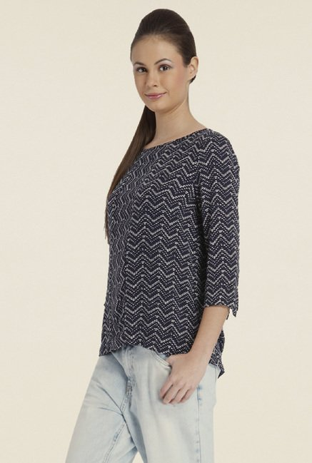 Only Blue Printed Boat Neck Top