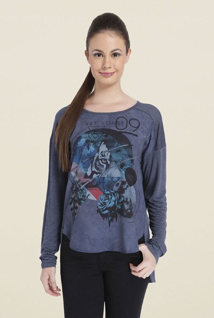 Only Blue Graphic Polyester T-shirt