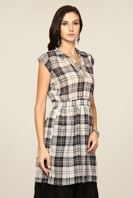 Yepme Off-white Sheila Check Kurti
