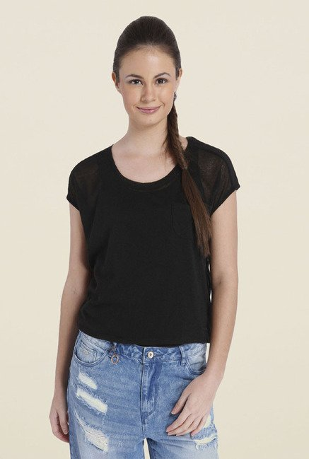 Only Black Solid Polyester T-shirt