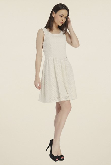 Only White Self Print Dress