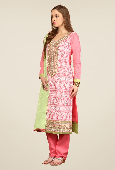 Yepme Pink Ernestine Unstitched Suit Set