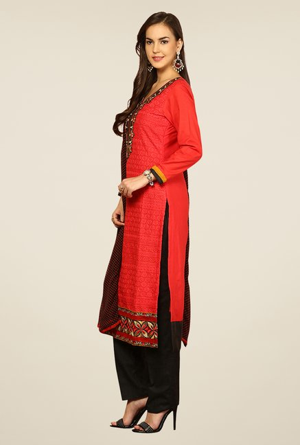 Yepme Red & Black Ernestine Unstitched Suit Set