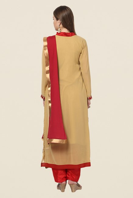 Yepme Beige & Red Barabal Unstitched Suit Set