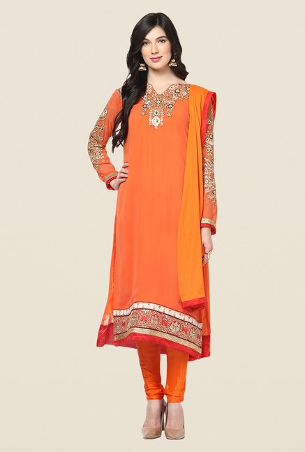 Yepme Orange Barabal Unstitched Suit Set