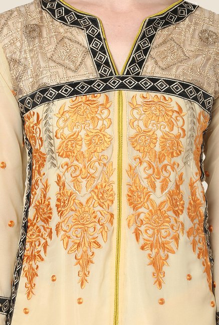 Yepme Beige Barabal Unstitched Suit Set