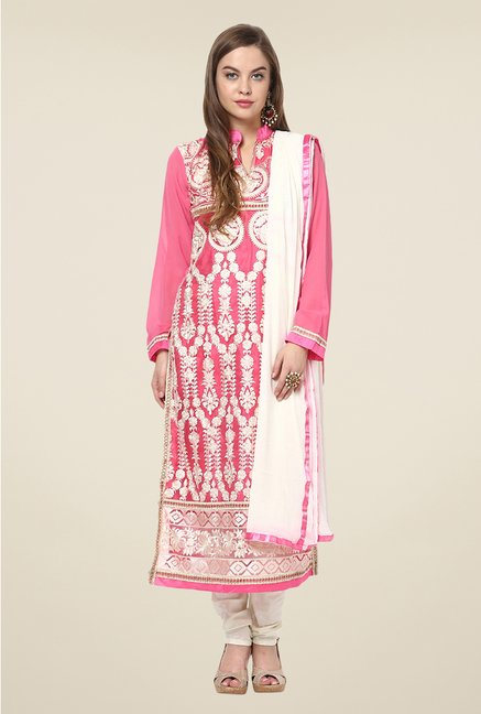 Yepme Pink Bibiana Unstitched Suit Set