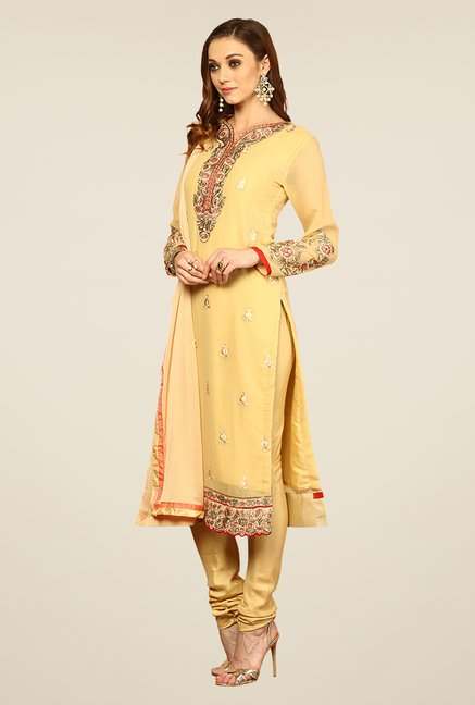 Yepme Beige Elevira Unstitched Suit Set