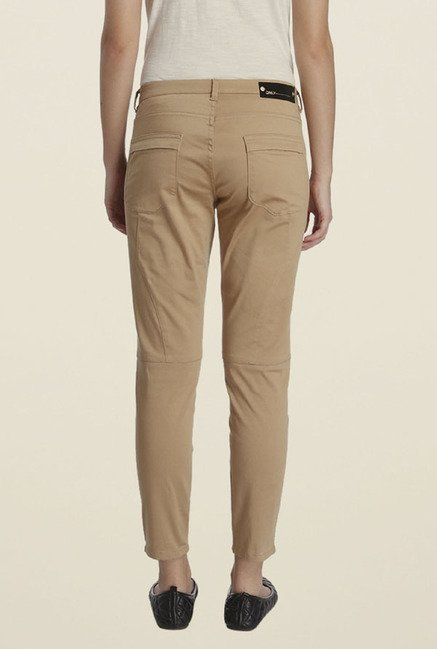 Only Beige Solid Chinos