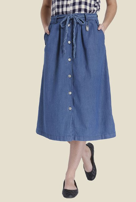 Only Blue Solid Skirt