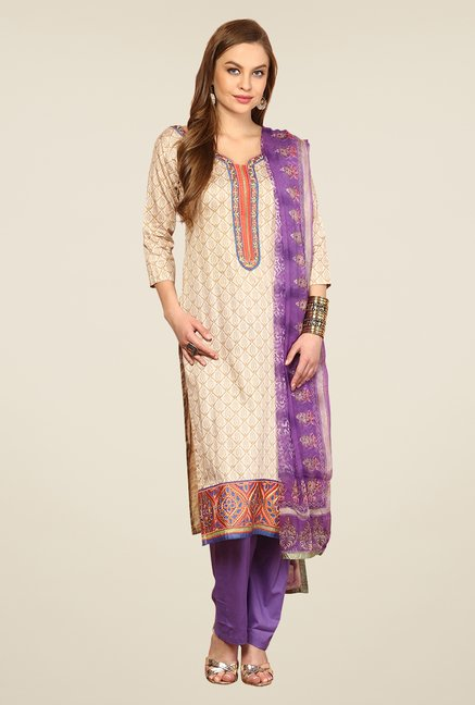 Yepme Beige & Purple Rosabelle Unstitched Suit Set
