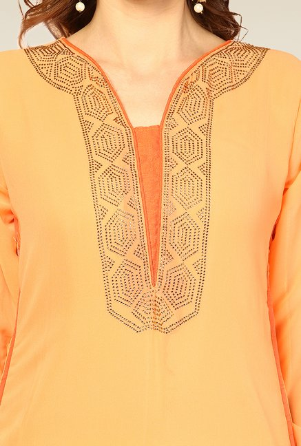 Yepme Orange & Beige Vanna Unstitched Suit Set