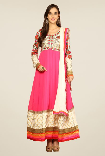 Yepme Pink Sakeena Unstitched Suit Set