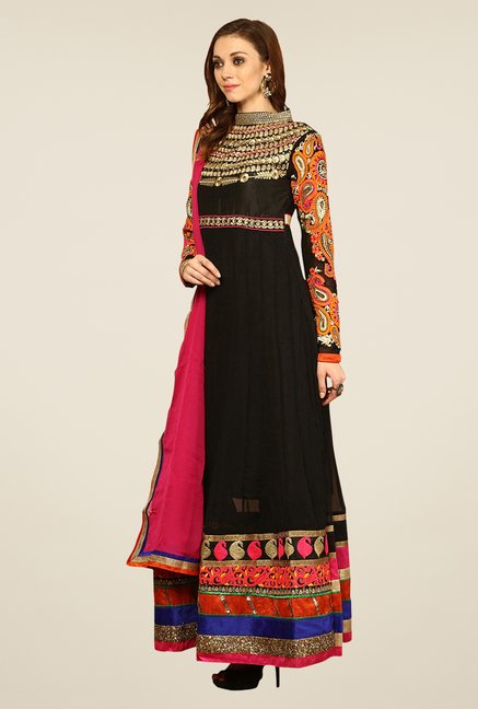 Yepme Black Seena Unstitched Suit Set