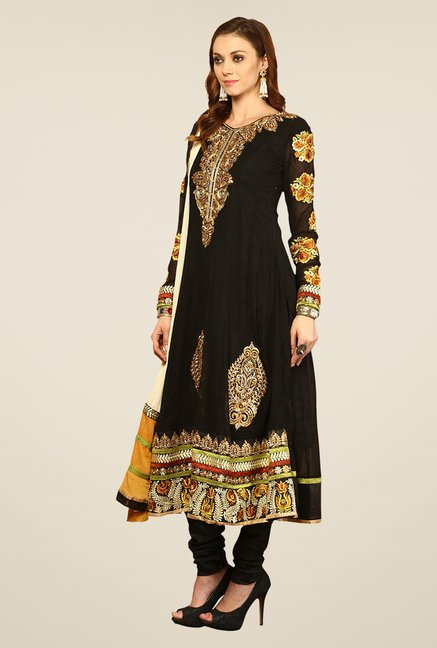 Yepme Black Elegance Unstitched Suit Set