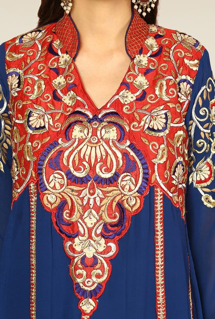 Yepme Blue & Red Elegance Unstitched Suit Set