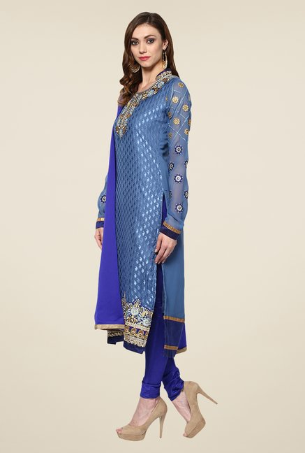 Yepme Blue Ebele Semi Stitched Suit Set