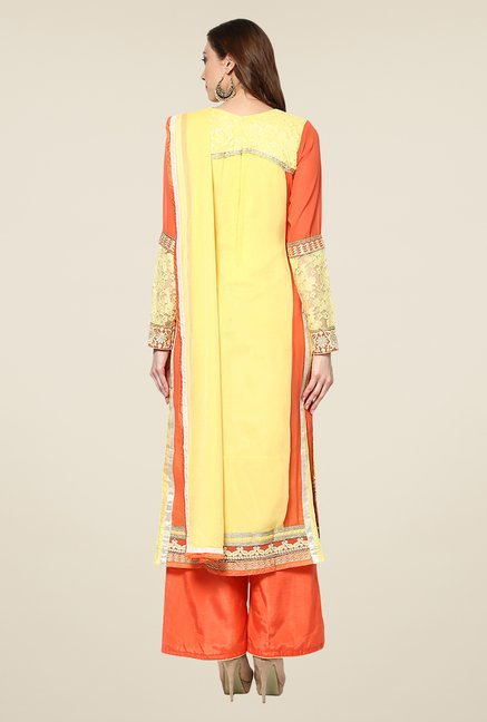 Yepme Yellow Ulrika Semi Stitched Suit Set