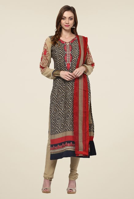 Yepme Brown Uschi Semi Stitched Suit Set