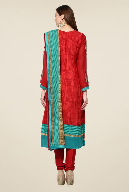 Yepme Red Uschi Semi Stitched Suit Set