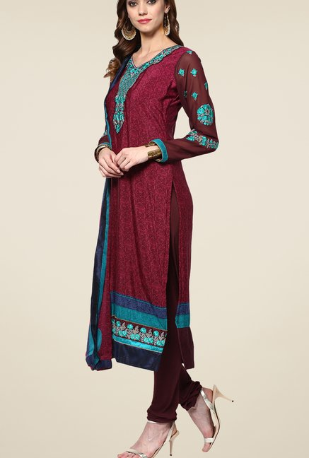 Yepme Wine Uschi Semi Stitched Suit Set