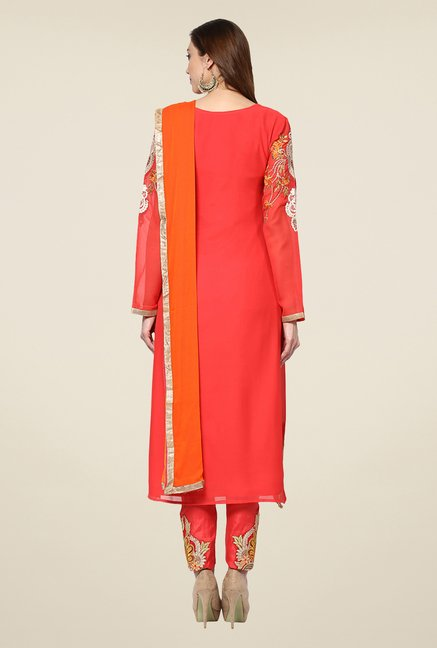 Yepme Coral & Orange Felecia Semi Stitched Suit Set