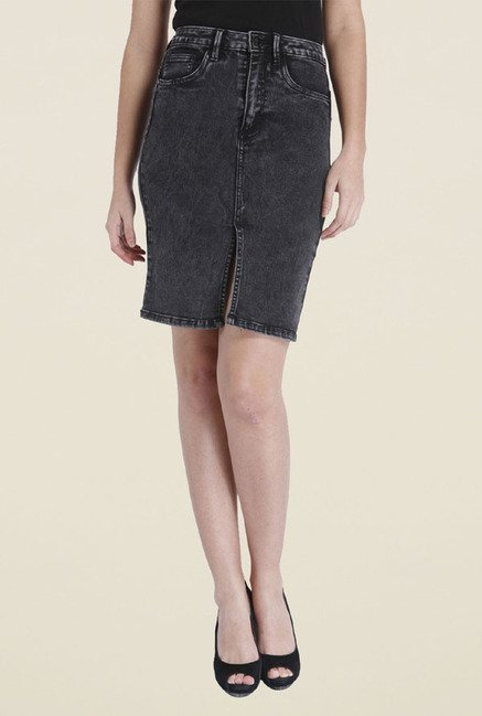 Only Grey Solid Skirt