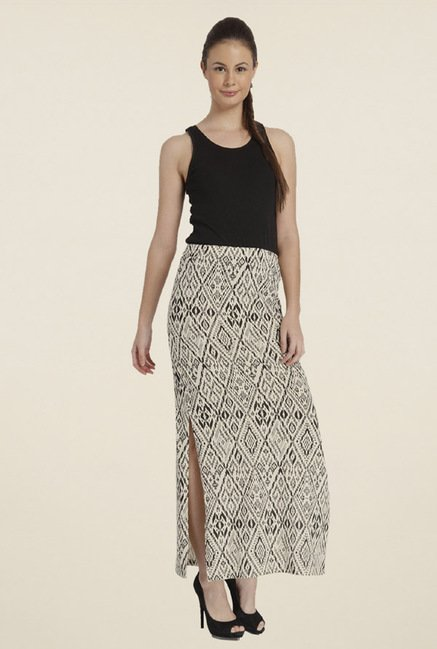Only White & Black Printed Skirt