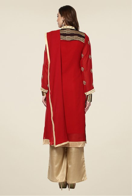 Yepme Red & Beige Zaida Semi Stitched Suit Set