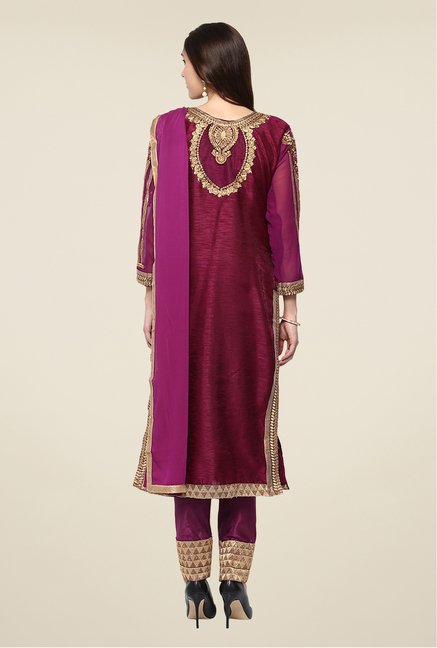 Yepme Maroon Quy Semi Stitched Suit Set