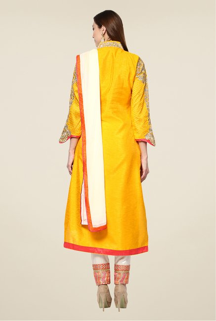 Yepme Yellow Quy Semi Stitched Suit Set