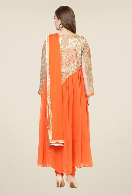 Yepme Orange Quy Semi Stitched Suit Set