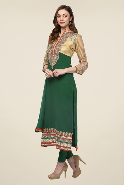 Yepme Green Quy Semi Stitched Suit Set