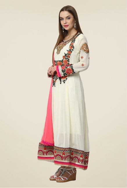 Yepme White Iesha Semi Stitched Suit Set